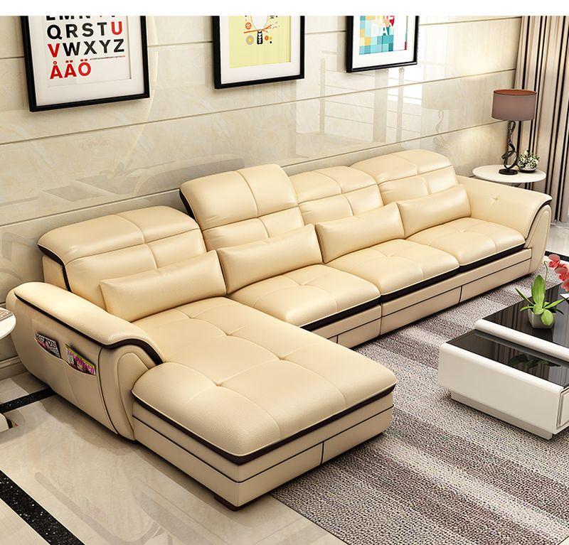 Bộ ghế sofa góc chữ L phong cách Châu Âu SF022 màu kem