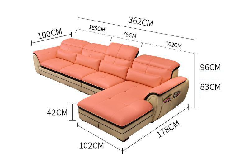 Kích thước Bộ ghế sofa góc chữ L phong cách Châu Âu SF022