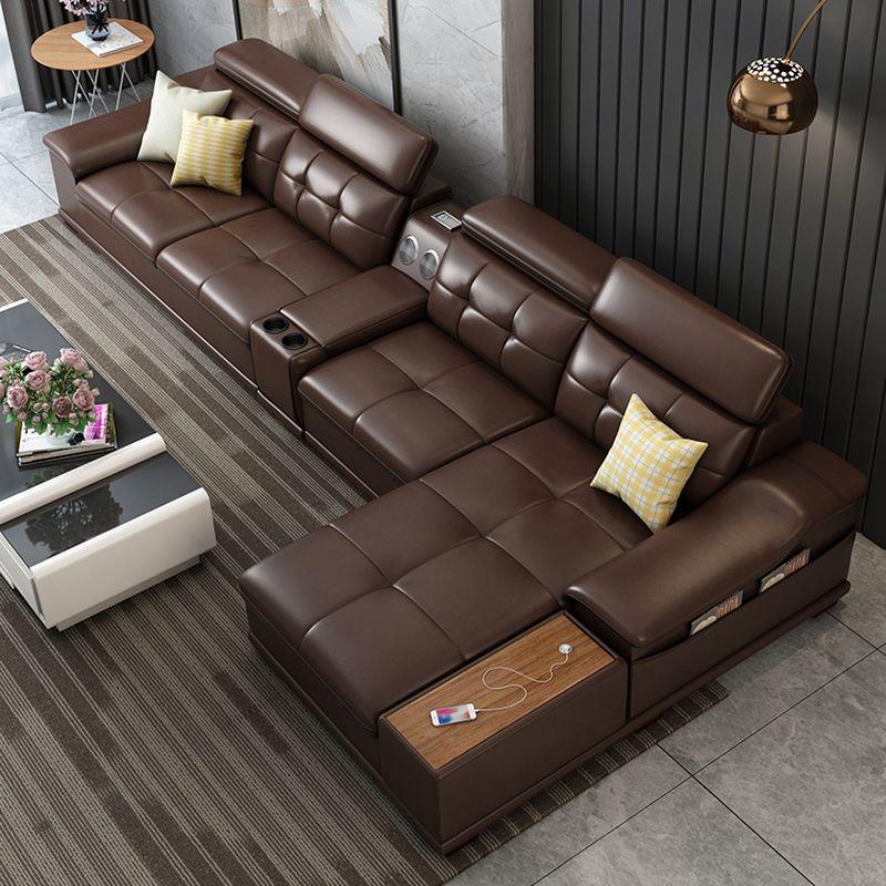Bộ ghê sofa hiện đại đẹp bọc da nhập khẩu SF018 màu nâu
