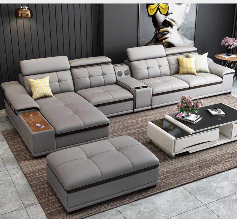 Bộ ghê sofa hiện đại đẹp bọc da nhập khẩu SF018 màu ghi xám
