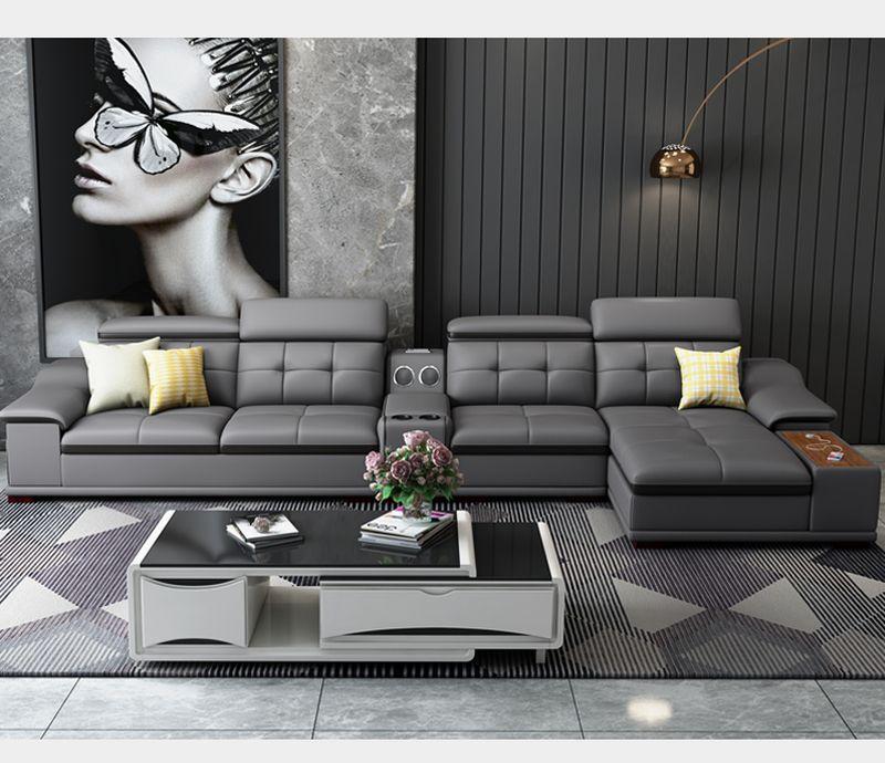 Bộ ghê sofa hiện đại đẹp bọc da nhập khẩu SF018 màu ghi đen