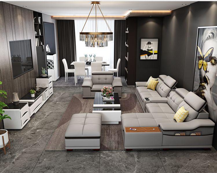Bộ ghê sofa hiện đại đẹp bọc da nhập khẩu SF018 màu ghi đen 2