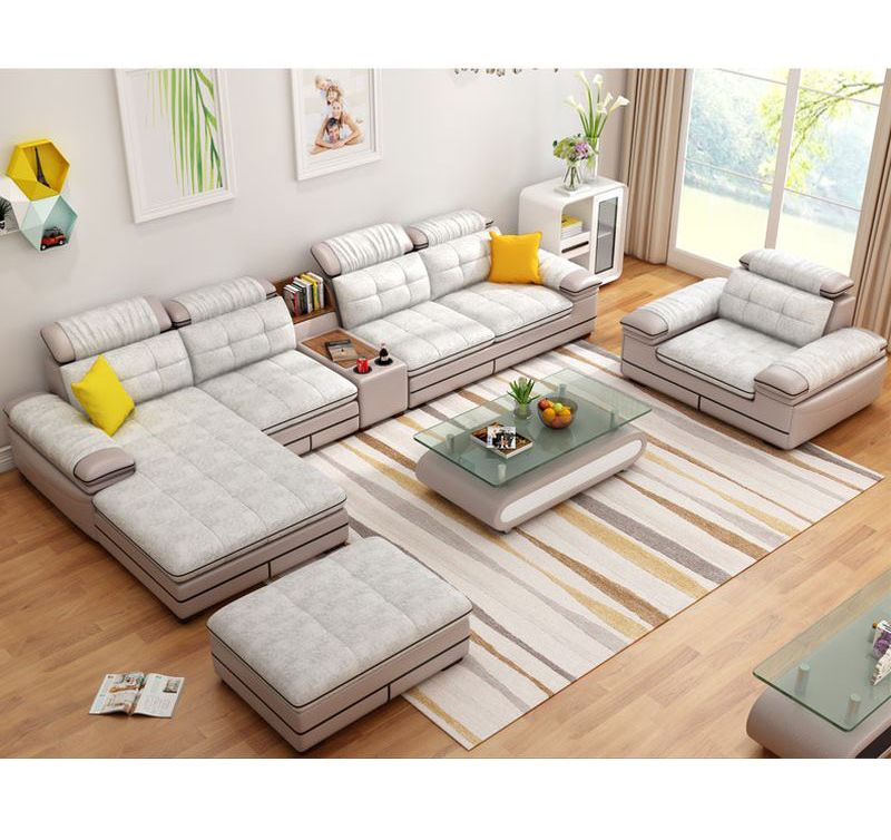 Bô ghế sofa phòng khách hiện đại chữ L SF013