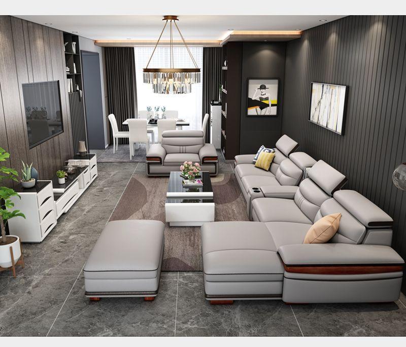 Bộ ghế sofa hiện đại đẹp boc da cao cấp SF016 màu xám