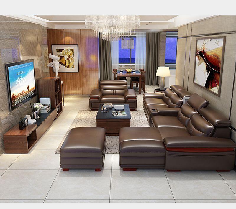 Bộ ghế sofa hiện đại đẹp boc da cao cấp SF016 màu nâu