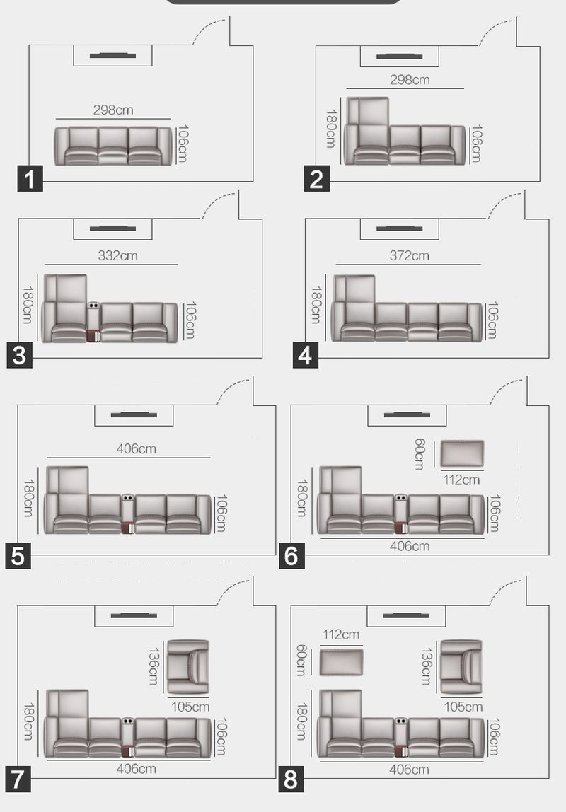 Các kiểu dáng và Kích cỡ Bộ ghế sofa hiện đại đẹp boc da cao cấp SF016