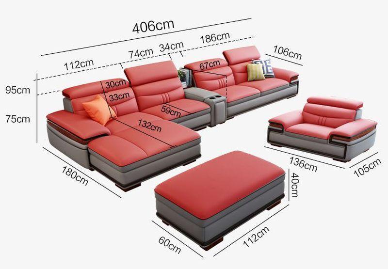 Kích cỡ Bộ ghế sofa hiện đại đẹp boc da cao cấp SF016