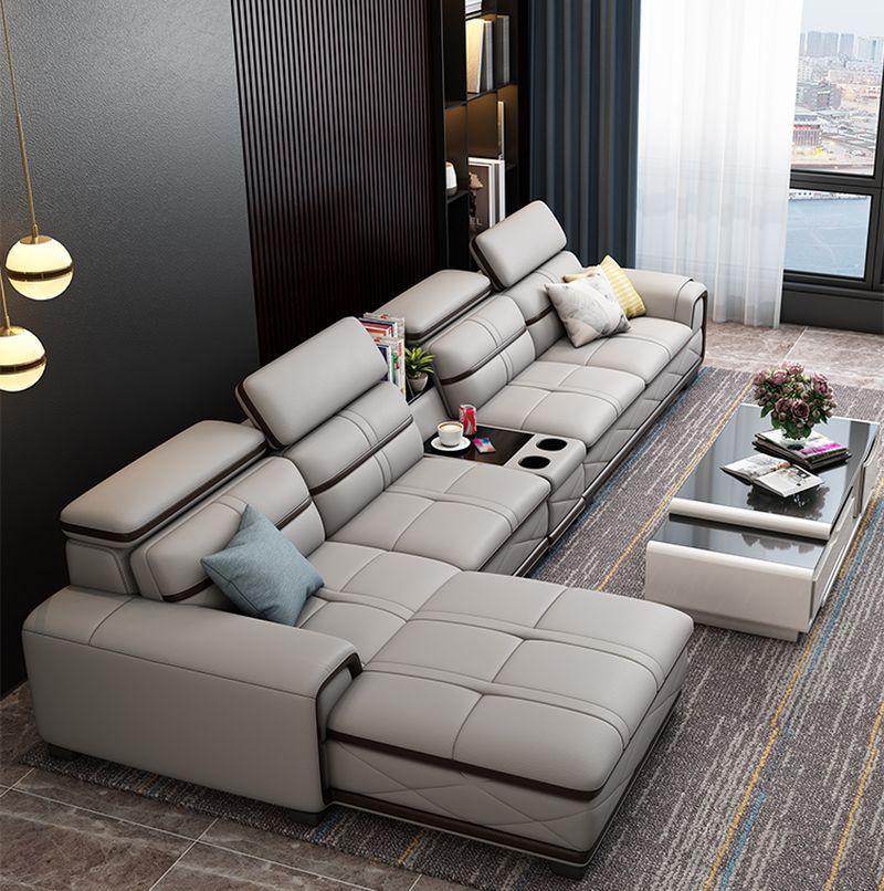 Bộ bàn ghế sofa phòng khách đẹp bọc da SF020 màu ghi xám