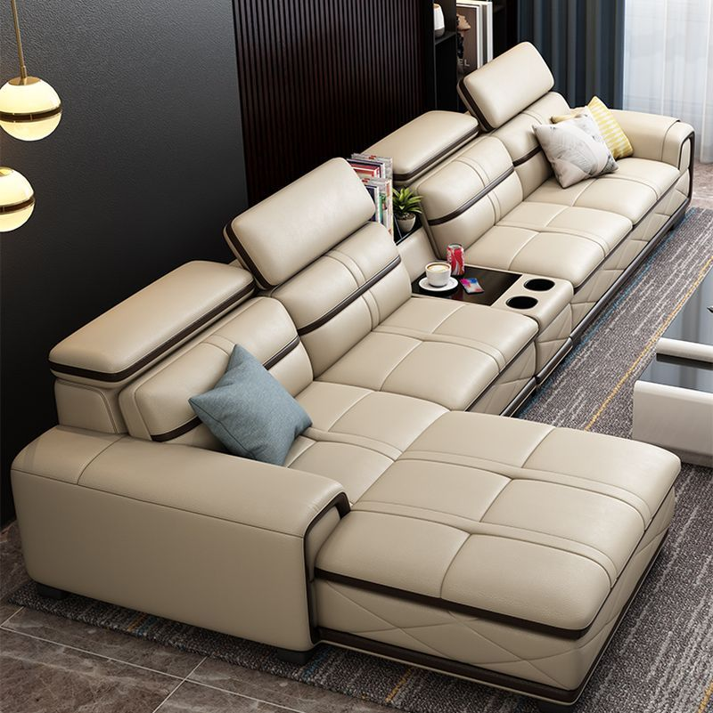 Bộ bàn ghế sofa phòng khách đẹp bọc da SF020 màu kem