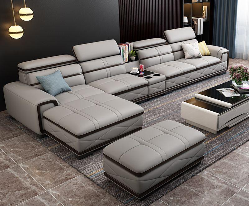 Bộ bàn ghế sofa phòng khách đẹp bọc da SF020 màu ghi xám 2