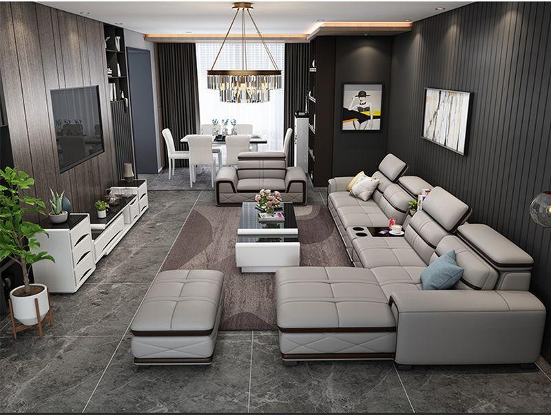 Bộ bàn ghế sofa phòng khách đẹp bọc da SF020 màu ghi xám  3