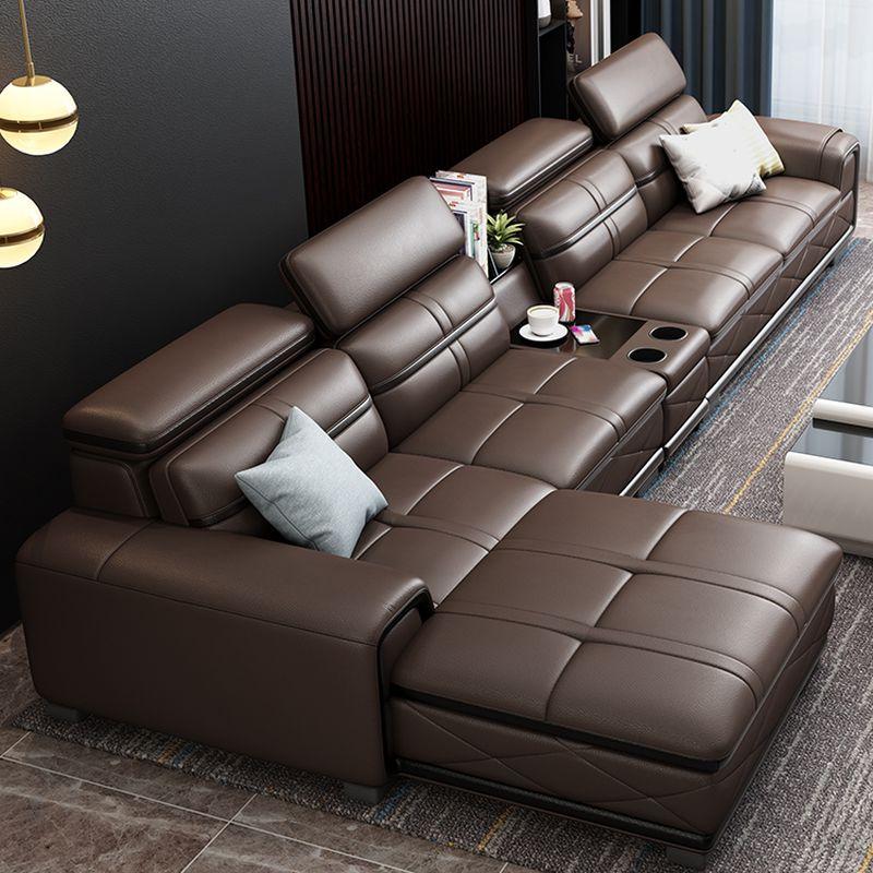 Bộ bàn ghế sofa phòng khách đẹp bọc da SF020 màu nâu