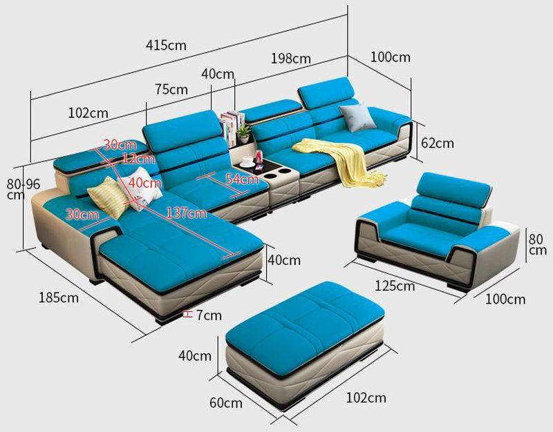 Kích thước Bộ bàn ghế sofa phòng khách đẹp bọc da SF020