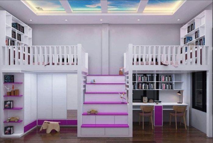 Giường 2 tầng có bàn học, tủ quần áo và cầu thang ở giữa GTE123