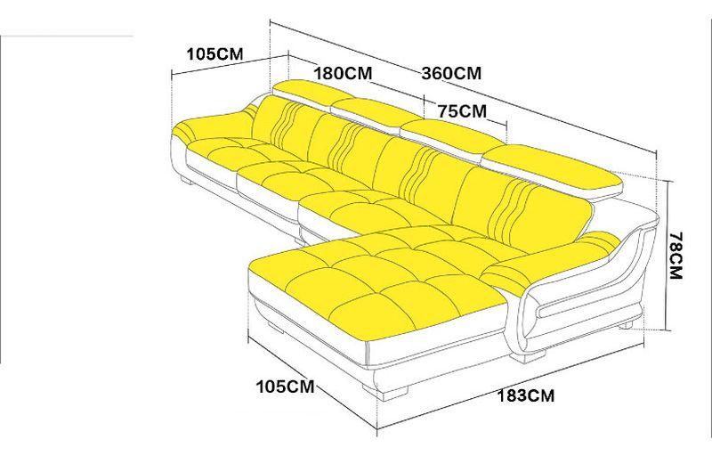 Kích thước Sofa cao cấp hiện đại sang trọng có ghế nằm SF023 2