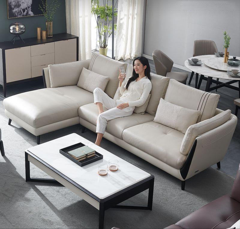 Sofa phòng khách bọc da dành cho chung cư SF025