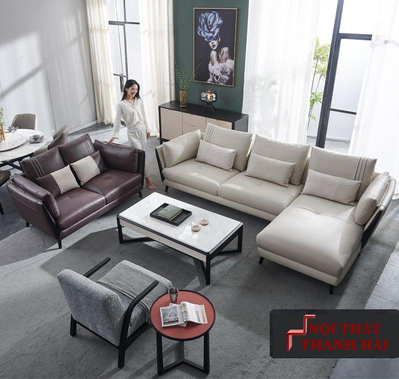 Sofa phòng khách bọc da dành cho chung cư SF025 2