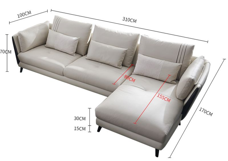 Kích thước Sofa phòng khách bọc da dành cho chung cư SF025 - ghế 3 băng chữ L