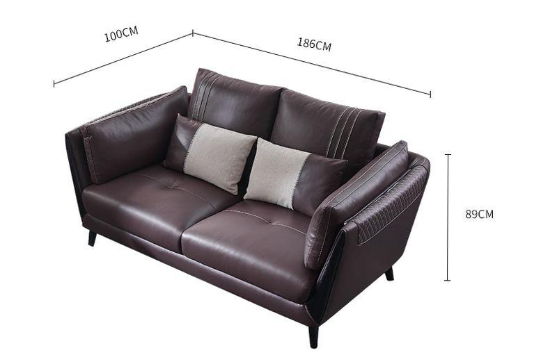 Kích thước Sofa phòng khách bọc da dành cho chung cư SF025 - ghế 2 bằng