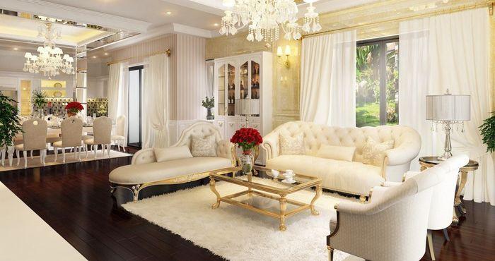 Mẫu sofa phòng khách tân cổ điển màu vàng bọc mút da