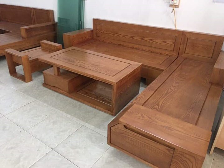 Bàn ghế phòng khách giá rẻ làm bằng gỗ sồi