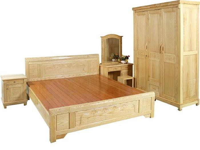 Giường ngủ giá rẻ đẹp làm bằng gỗ sồi