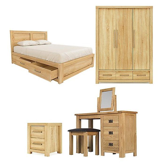 Bộ nội thất phòng ngủ đẹp làm bằng gỗ sồi