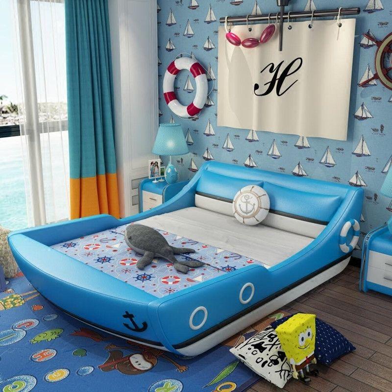 Giường trẻ em kiểu chiếc thuyền GTE124 màu xanh nước biển