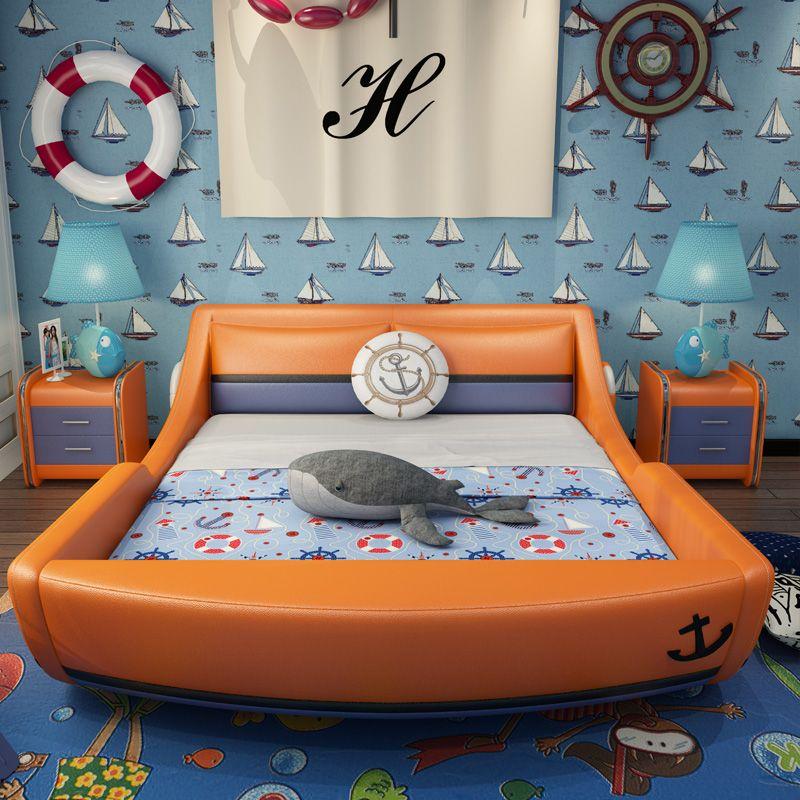 Giường trẻ em kiểu chiếc thuyền GTE124 màu cam