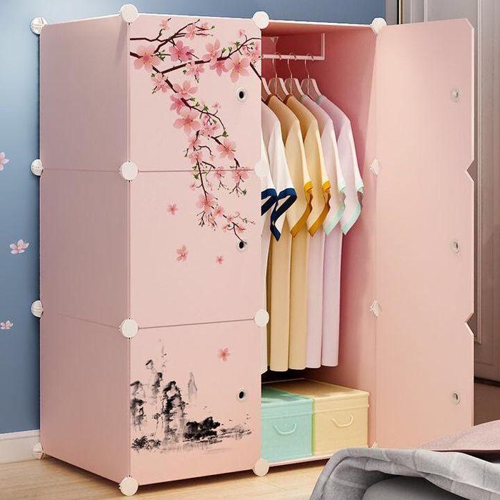 Tủ nhựa lắp ghép cho bé màu hồng