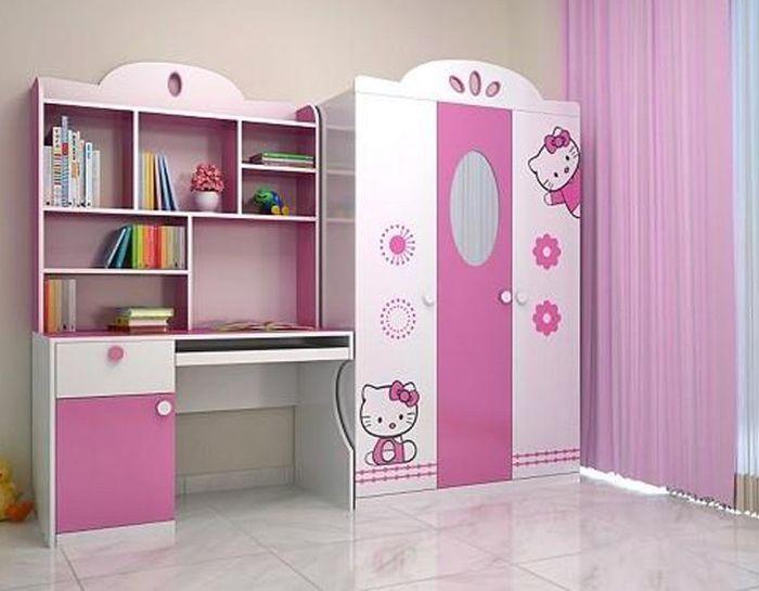 Tủ quần áo đẹp phong cách hello kitty dành cho bé gái