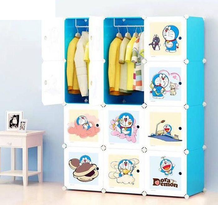 Tủ quần áo xếp ô hình Doremon dễ thương