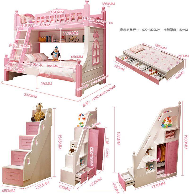 Kích thước Giường tầng công chúa dành cho bé gái GTE131 5