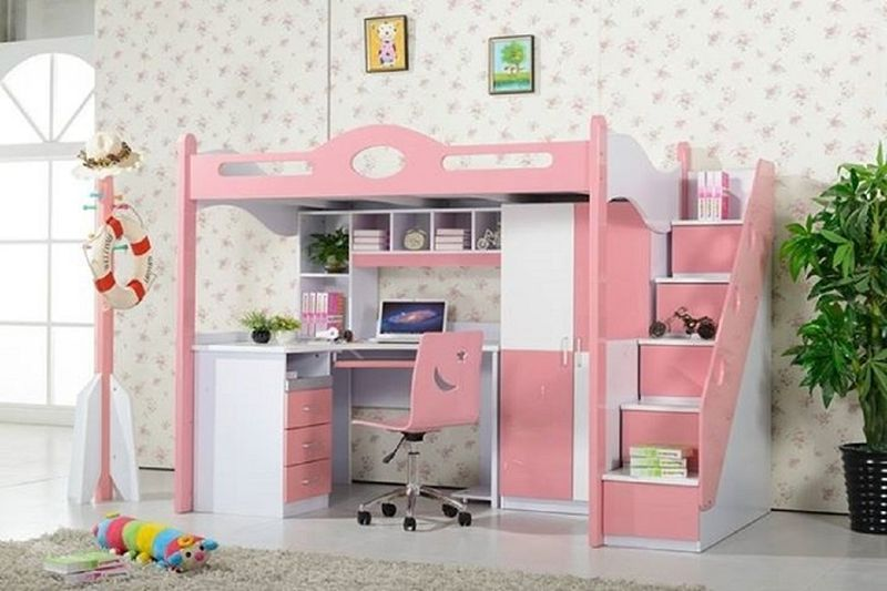 Giường tầng đẹp kết hợp bàn học và tủ quần áo GTE132 1