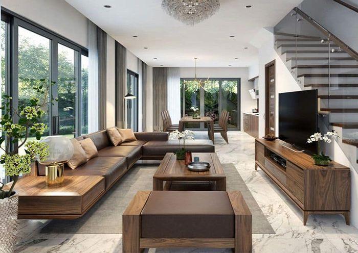 Sofa gỗ óc chó đẹp cho phòng khách