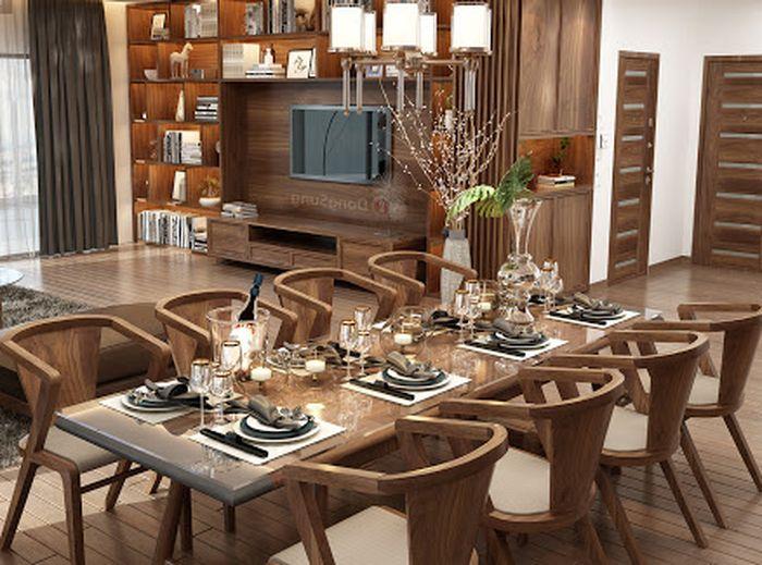 Bàn ghế ăn uống phòng khách sang trọng hơn với màu gỗ óc chó
