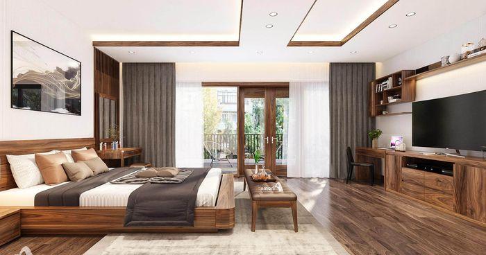 Nội thất phòng ngủ giường ngủ gỗ óc chó