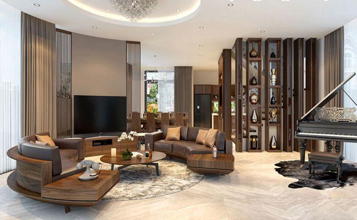 Sofa gỗ óc chó đẹp thiết kế kiểu dáng bo tròn
