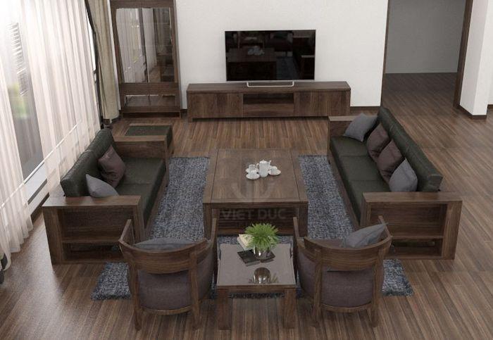 Bộ sofa gỗ phòng khách, kệ tivi làm từ gỗ óc chó