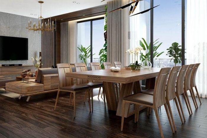 Bộ bàn ăn vuông 10 ghế gỗ óc chó