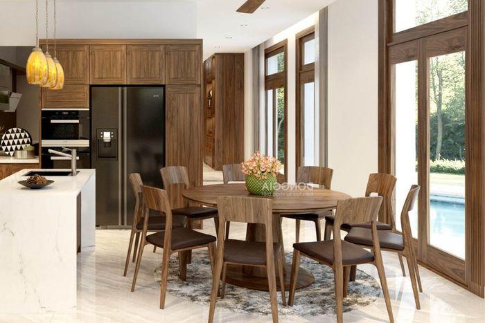 Bộ bàn ăn tròn 8 ghế gỗ óc chó