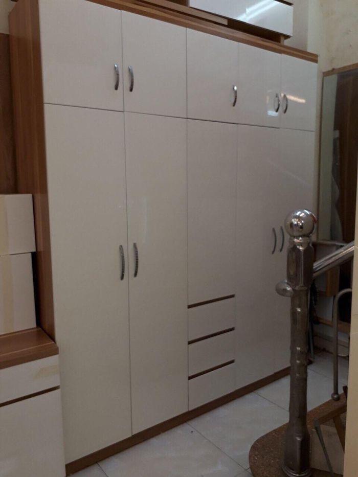 Mẫu tủ quần áo bằng gỗ giá rẻ 1 triệu, 2 triệu, 3 triệu dành cho sinh viên 5 cánh màu trắng
