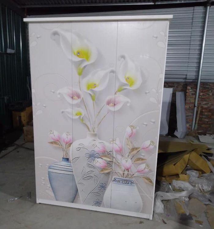 Tủ quần áo bằng nhựa đẹp giá rẻ  in hình lọ hoa 7