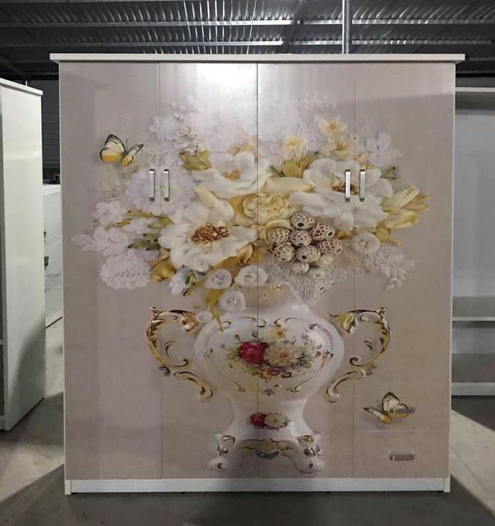 Tủ quần áo bằng nhựa đẹp giá rẻ  in hình chậu hoa