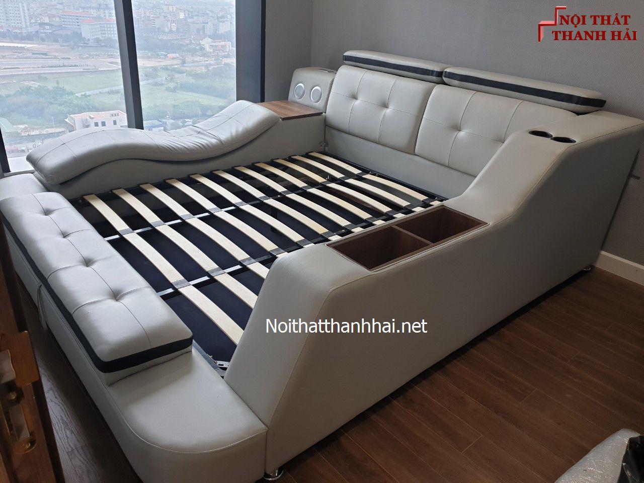 Ảnh thật giường có ghế massage thư giãn GN004 màu xám