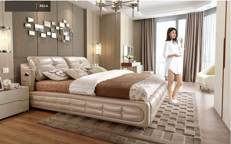 Giường ngủ bọc da nhập khẩu đẹp GN022 kiểu A
