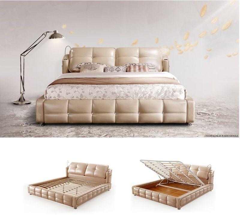 Giường ngủ bọc da nhập khẩu đẹp GN022 dát nâng lên hạ xuống 2