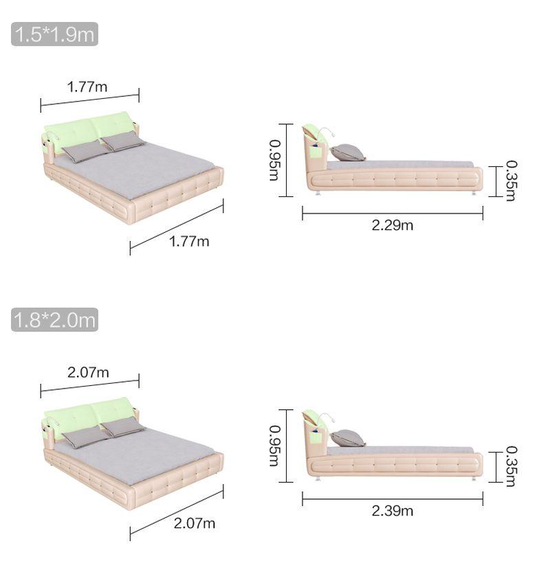 Kích cỡ giường bọc da nhập khẩu GN022