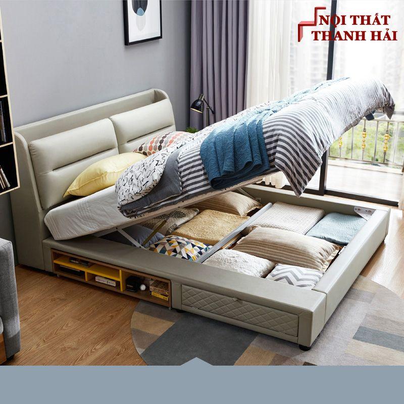 Giường ngủ đôi hiện đại đa năng thông minh GN023 màu xám