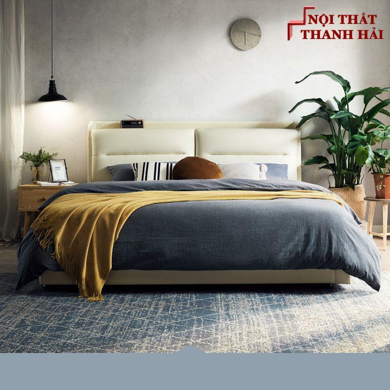 Giường ngủ đôi hiện đại đa năng thông minh GN023 màu xám 2